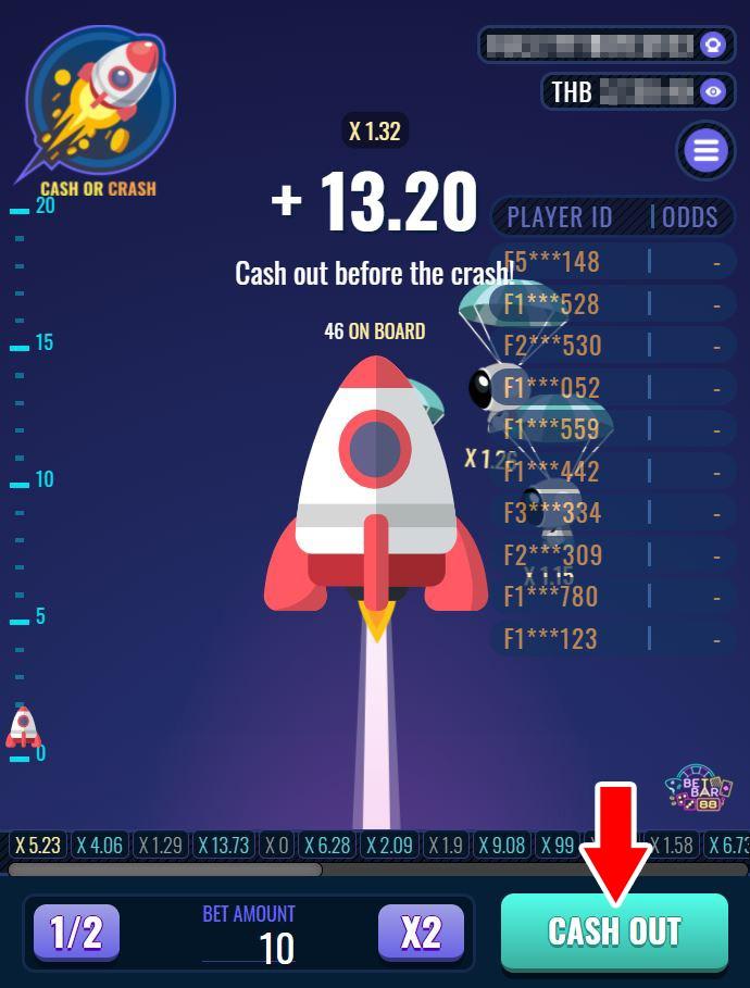 เกมจรวดวัดใจ CASH OR CRASH ค่าย JOKER GAMING เกมทำเงินแนวใหม่ เล่นง่าย ได้เงินจริง